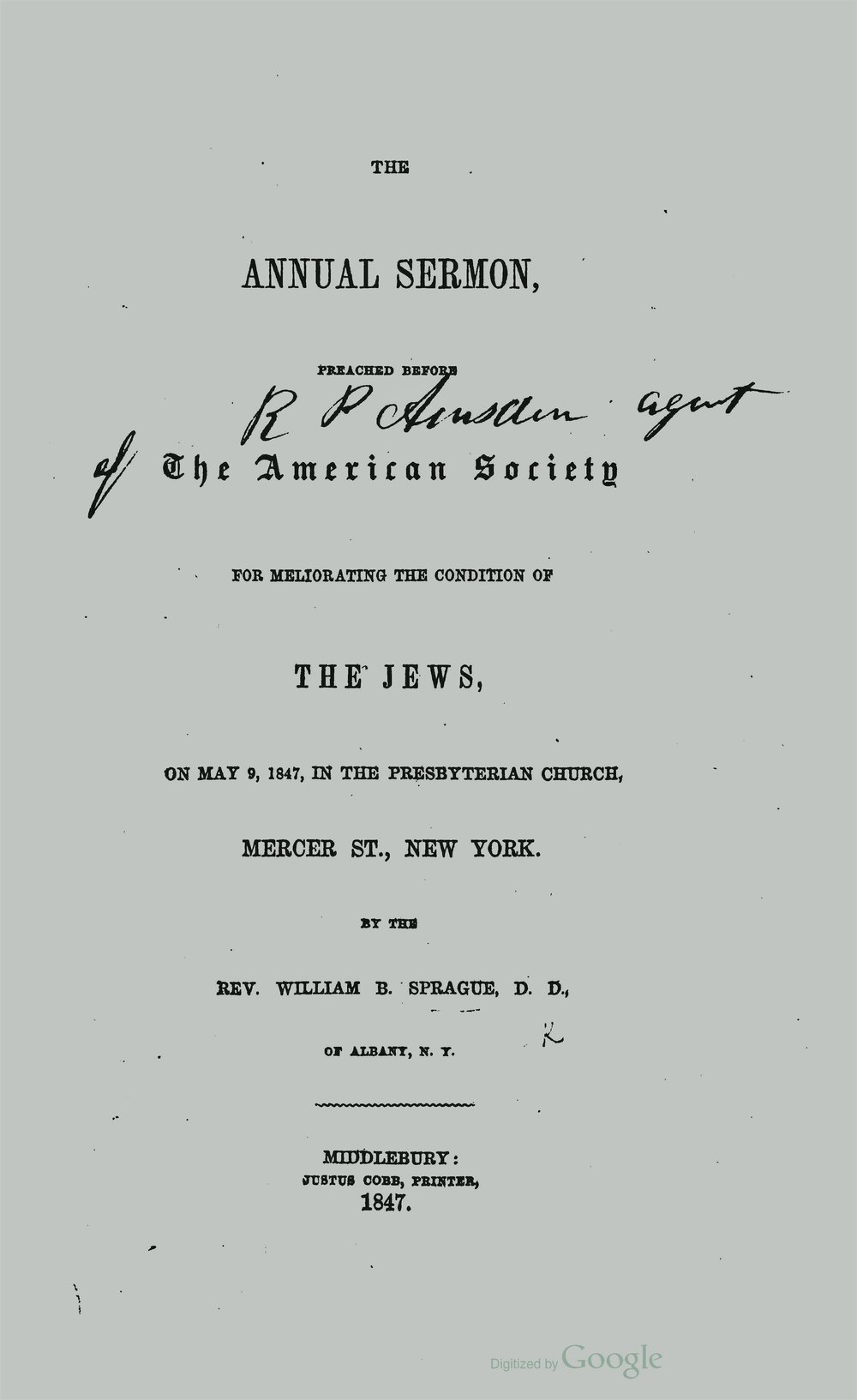 Sprague, William Buell, Two Sermons on the Promotion of Christianity Amongst the Jews Title Page.jpg
