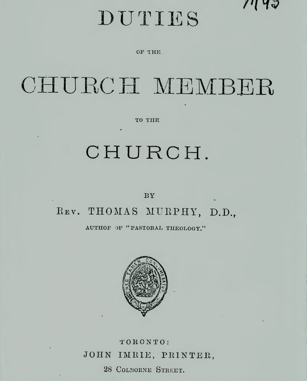 Murphy, Thomas, Duties of the Church Members to the Church Title Page.jpg