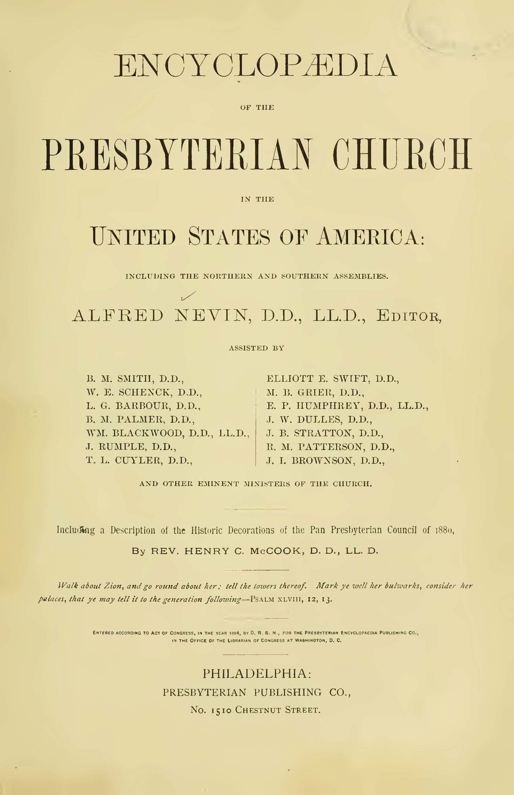 Nevin, Alfred, Encyclopedia of the Presbyterian Church Title Page.jpg