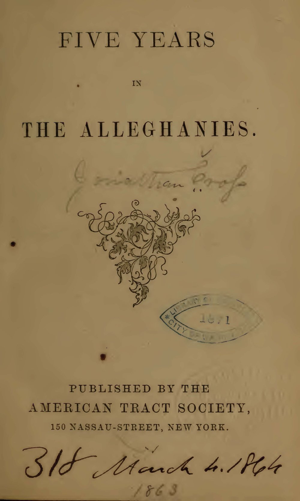 Cross, Jonathan, Five Years in the Alleghanies Title Page.jpg