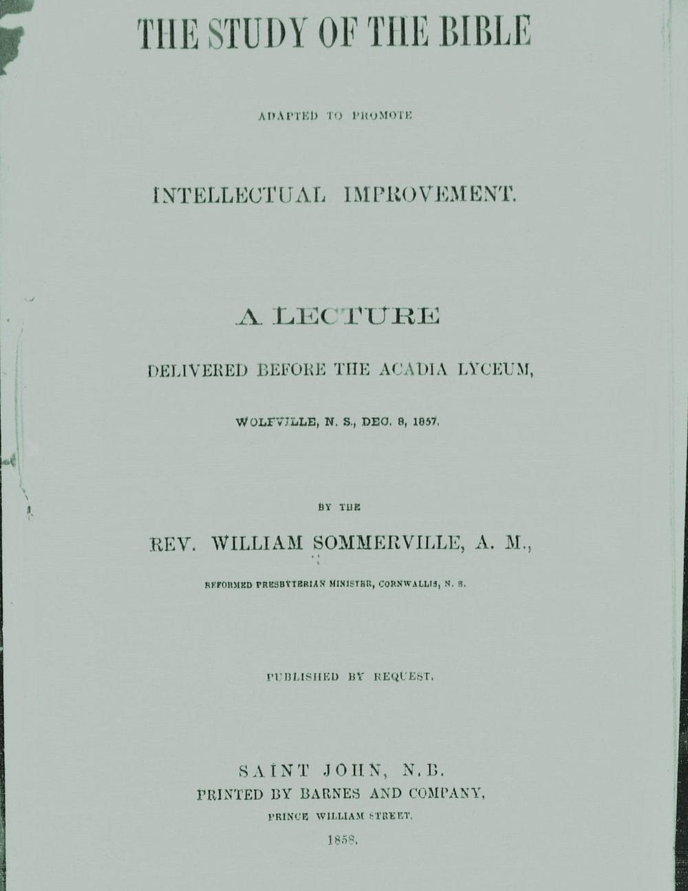 Sommerville, William, The Study of the Bible Adapted to Promote Intellectual Improvement Title Page.jpg
