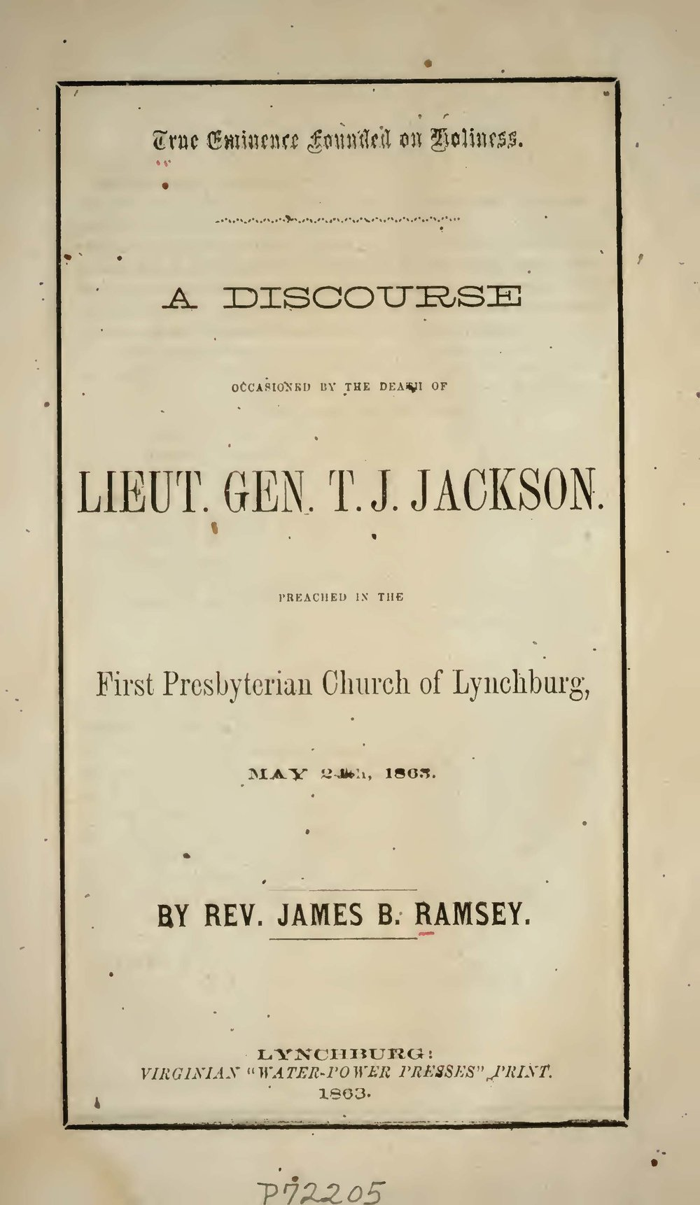 Ramsey, James Beverlin, True Eminence Founded on Holiness Title Page.jpg