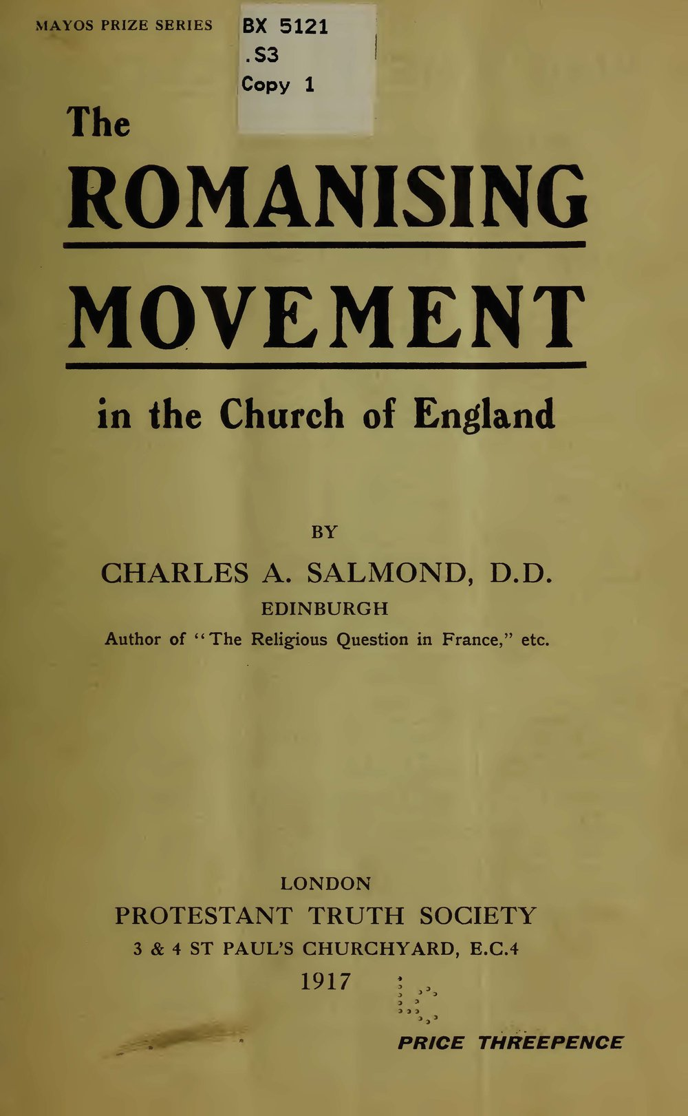 Salmond, Charles Adamson, The Romanising Movement in the Church of England Title Page.jpg