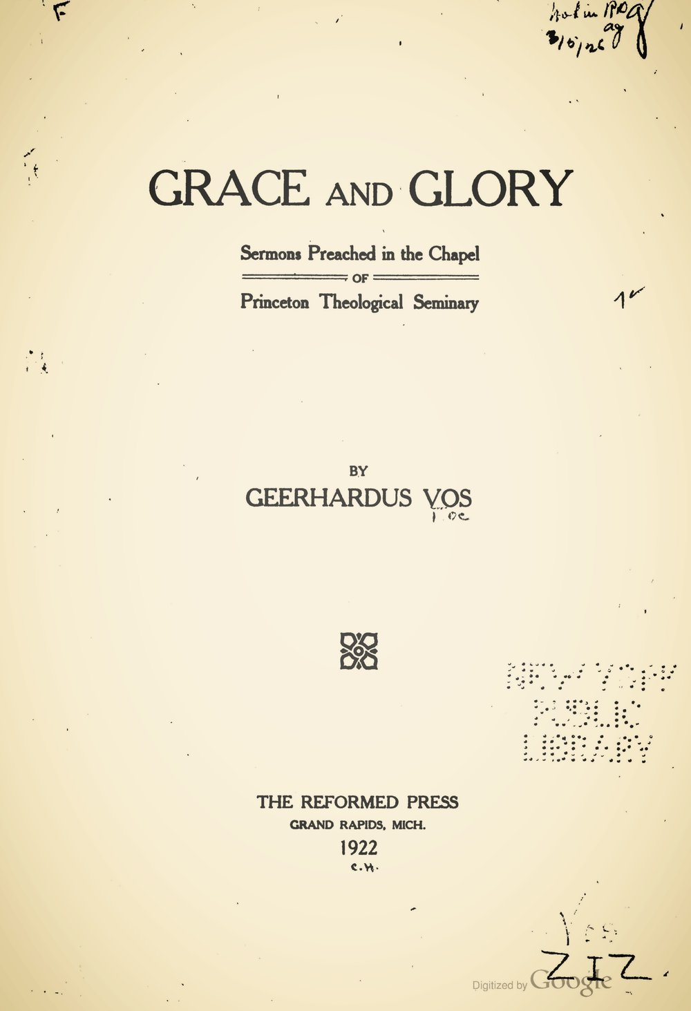 Vos, Geerhardus, Grace and Glory Title Page.jpg