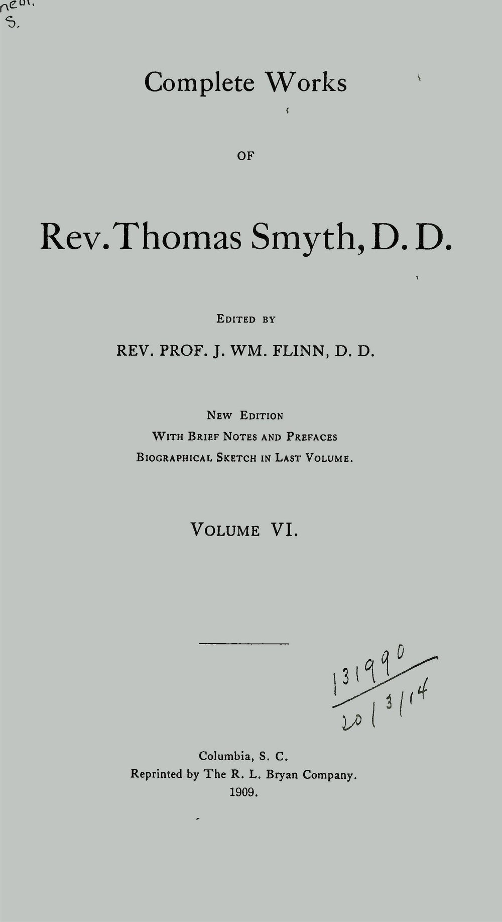 "1. The Primitive Revelation of a Divine and Incarnate Savior Traced in the History and Rites of Bacchus 2. National Righteousness 3. Union to Christ and to His Church; or, The Duty and Privilege of All to Believe in Christ, and to Become Communing Members of the Church of Christ 4. The Divine Appointment and Obligation of Capital Punishment with its Bearing on the Recent Execution of Colored Persons, and their Religious Instruction 5. Mary not a Perpetual Virgin, nor the Mother of God: But Only a Sinner Saved by Grace, Through the Worship and Mediation of Jesus Christ, Her God and our God. Together with a View of the True Position, Duty and Liberty of Woman under the Gospel Dispensation. 6.  An Address on Giving the Right Hand of Fellowship, Delivered at the Installation of Rev. Thomas Osborne Rice as Pastor of the Independent Congregational (Circular) Church, Charleston, S. C., April 1, 1860 7. Services on the Occasion of the Ordination of the Rev. F. P. Mullally, and the Installation of Rev. J. H. Thornwell, D.D., and Rev. F. P. Mullally, as Co-Pastors of the First Presbyterian Church, Columbia, S. C., Sermon by Rev. John L. Girardeau, Charges, by Rev. Thomas Smyth, D.D., May 4th, 1860 8. Preach the Word 9. Preaching Through the Press the Duty of All, A Discourse 10. Gospel Preaching Must Be Doctrinal Preaching, A Discourse 11. Fear as a Christian Motive, Two Discourses 12. Consciousness and Fright of Sin, A Discourse 13. Every Man Under Obligation to Believe and Confess Christ by Union to His Church and an Open Confession of His Ordinances and [2nd item] The Duty and Privilege of Belief and Confession Urged Upon Doubting Sinners 14. The Young Man Miserable and the Young Man Happy, Four Discourses 15. Bible Temperance, Five Articles 16. A Defense of the Ecclesiastical Boards of the Presbyterian Church 17. The World-Reaching Sound and World-Preaching Sound, A Sermon 18. Our Election Made Sure 19. The Peculiar Song and Service of the Redeemed, A Sermon 20. The Question of Psalmody, A Series of Articles 21. The Scriptural and Divine Right for Using Mechanical as Well as Vocal Instruments in the Worship of God, A Discourse 22. The Sunday School Teacher in His Work, Spirit and Motives, A Series of Five Articles 23. Assurance—Witness of the Spirit and The Call to the Ministry 24. Claims of the Christian Ministry to an Adequate and Liberal Support; also a Plea for the Preaching of the Gospel to the Poor, but Not by the Poor, ""For the poor the gospel is preached."" Luke 7:22 25. The Art Unions and the Use of the Lot, An Article 26.  Education 27. The Waldenses—Were They Pedobaptists? 28. The Culdee Monasteries 29. Trees 30. On the Importance of a Knowledge of Natural History to a Full Understanding of the Sacred Scriptures, A Lecture Delivered Before the South Carolina Lyceum, Friday Evening, May 19, 1848 31. Lecture on the Practical Utility of Astronomical Science"