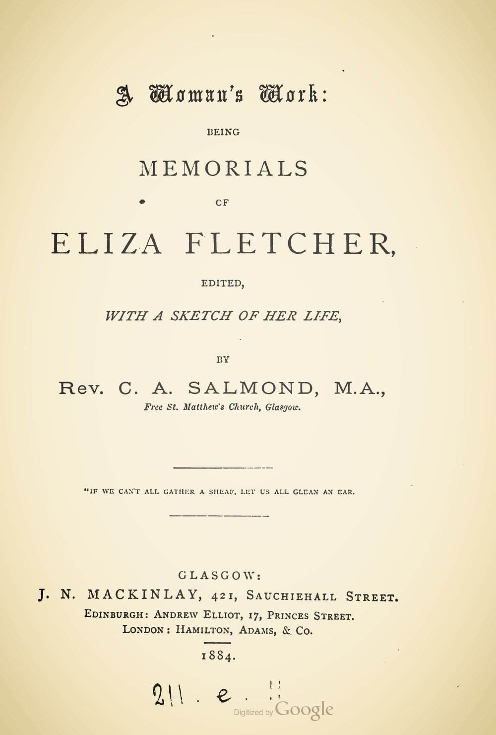 Salmond, Charles Adamson, A Womans Work Memorials of Eliza Fletcher Title Page.jpg