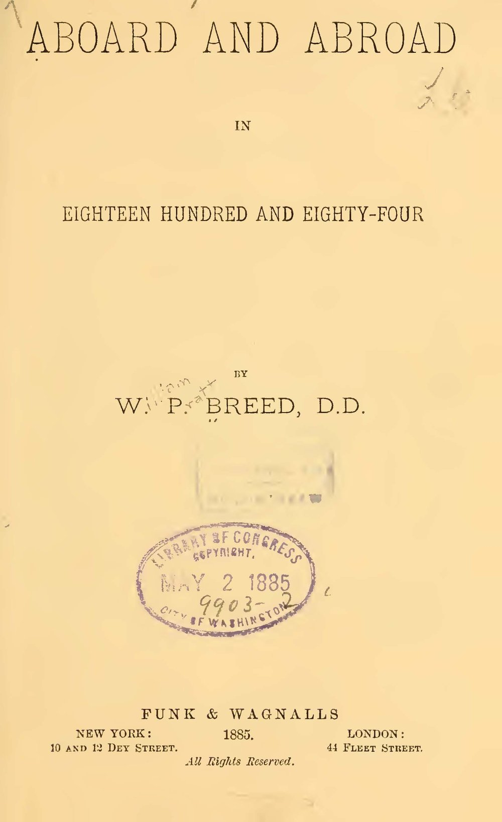 Breed, William Pratt, Aboard and Abroad in Eighteen Hundred and Eighty Four Title Page.jpg