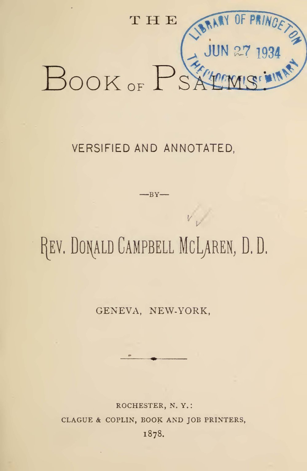 McLaren, Donald Campbell, The Book of Psalms Versified and Annotated Title Page.jpg