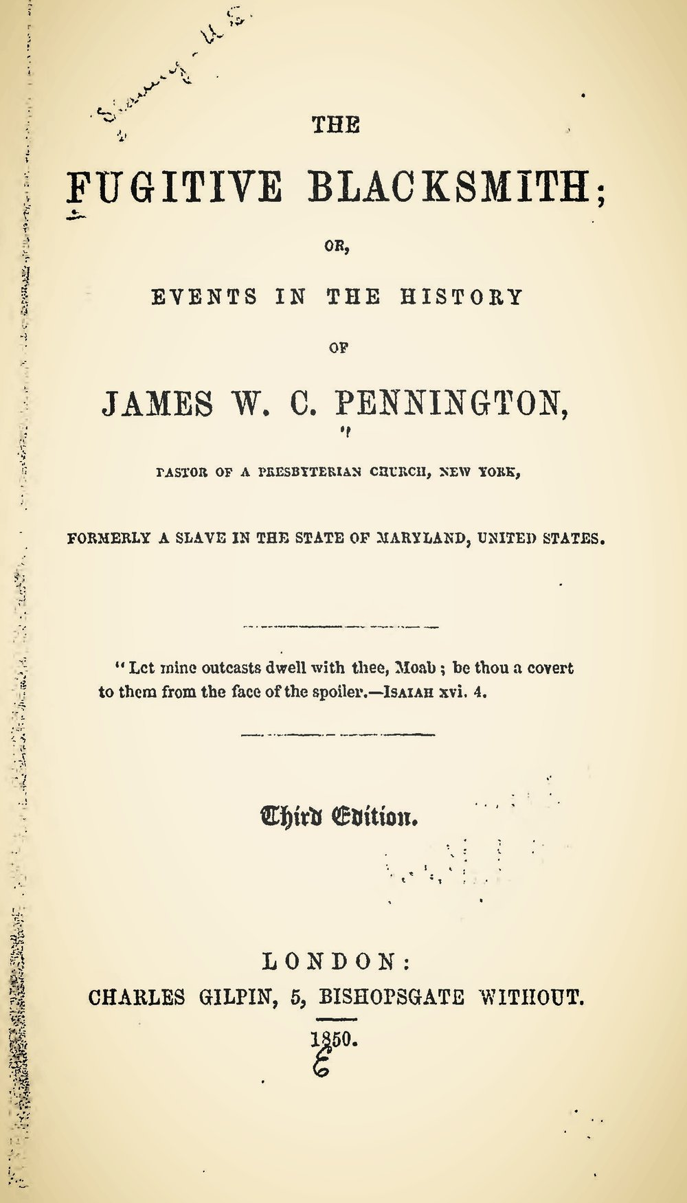Pennington, James W.C., The Fugitive Blacksmith Title Page.jpg