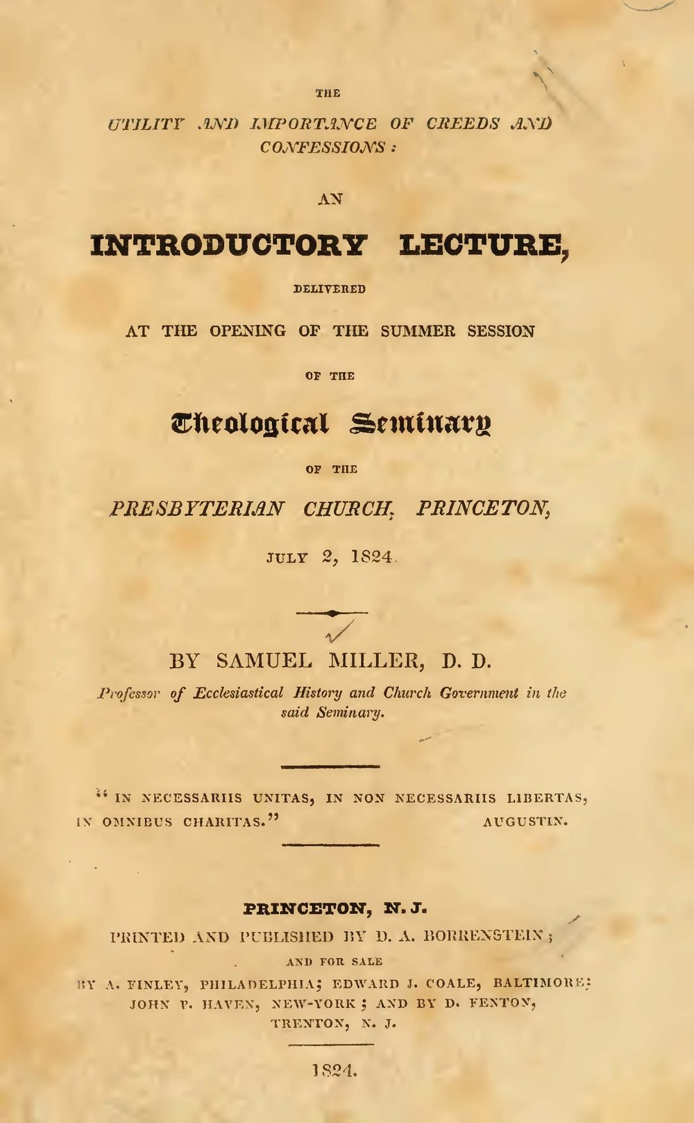 Miller, Samuel, The Utility and Importance of Creeds and Confessions Title Page.jpg