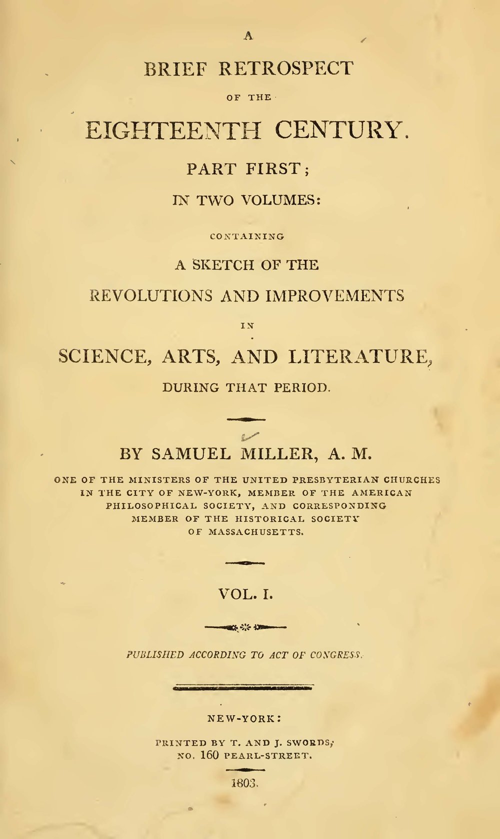 Miller, Samuel, A Brief Retrospect of the Eighteenth Century, Vol. 1 Title Page.jpg
