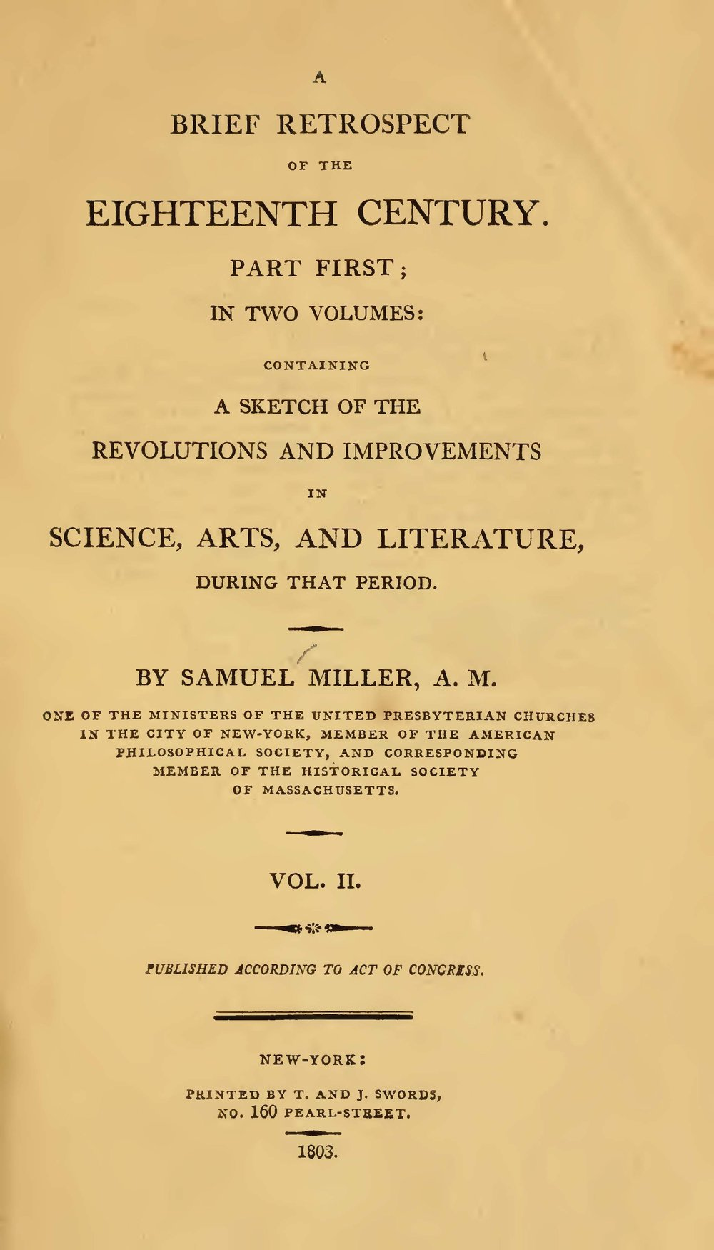 Miller, Samuel, A Brief Retrospect of the Eighteenth Century, Vol. 2 Title Page.jpg
