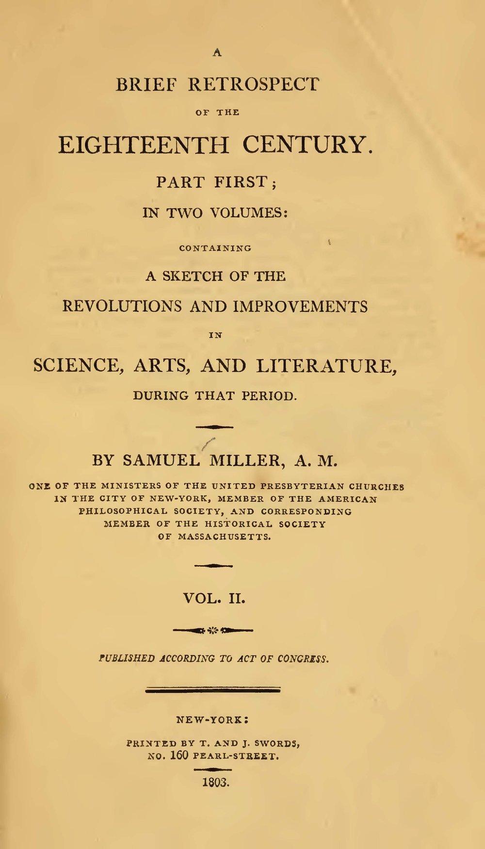 Miller, Samuel, A Brief Retrospect of the Eighteenth Century, Vol. 2 Title Page.jpg