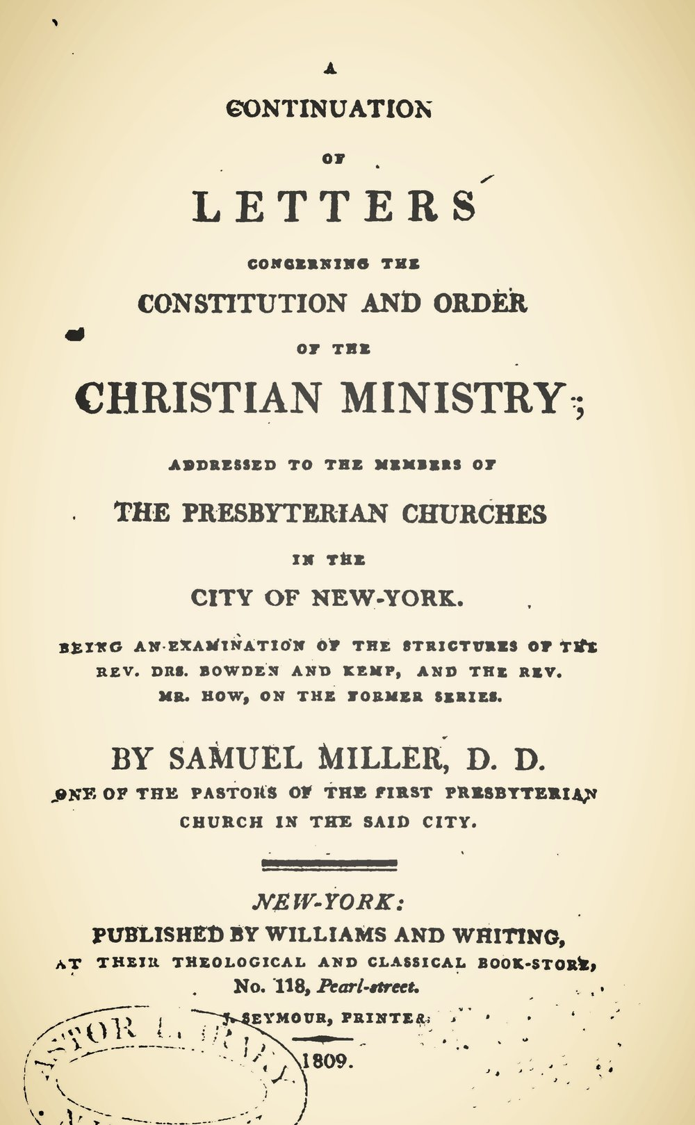 Miller, Samuel, A Continuation of Letters Concerning the Constitution and Order of the Christian Ministry Title Page.jpg