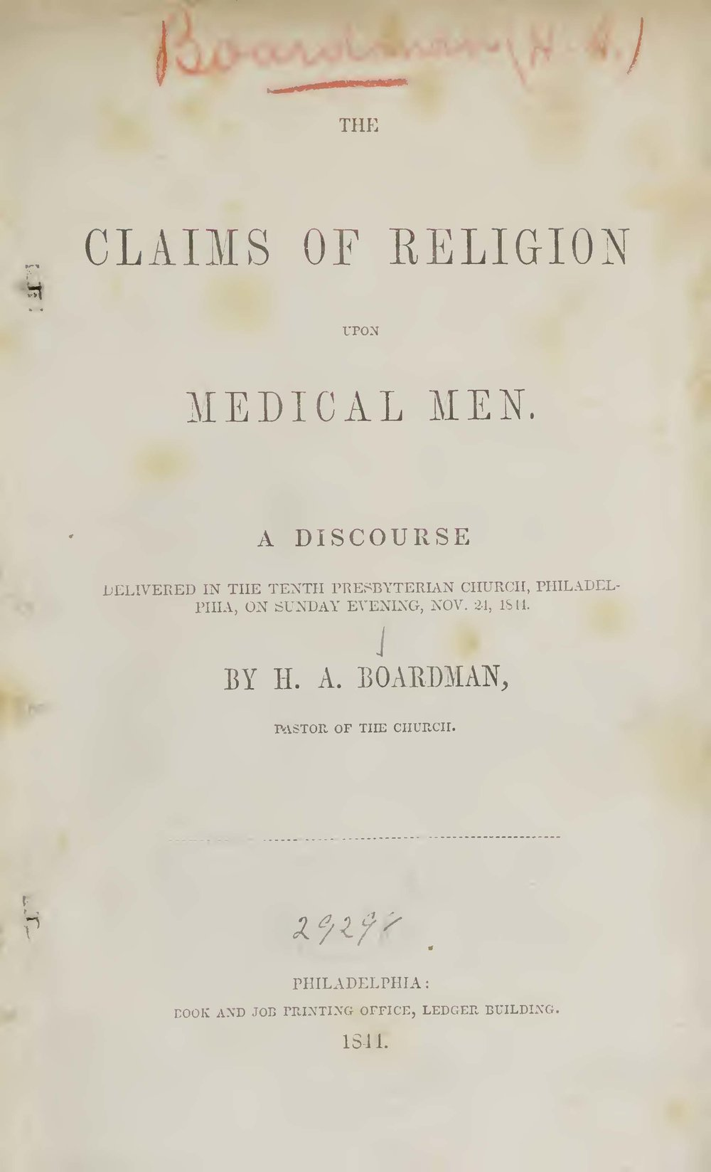 Boardman, Henry Augustus, The Claims of Religion Upon Medical Men Title Page.jpg