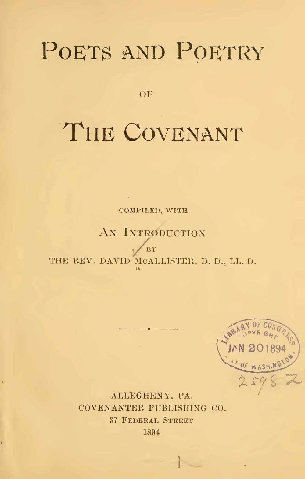 McAllister, David, Poets and Poetry of the Covenant Title Page.jpg