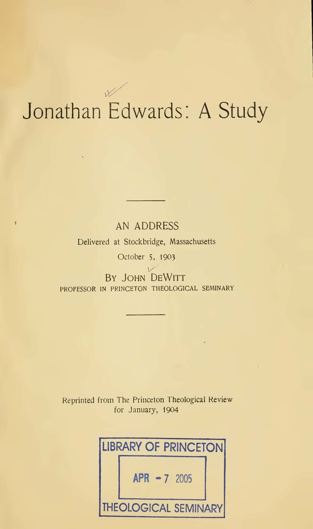 DeWitt, John, Jonathan Edwards A Study Title Page.jpg