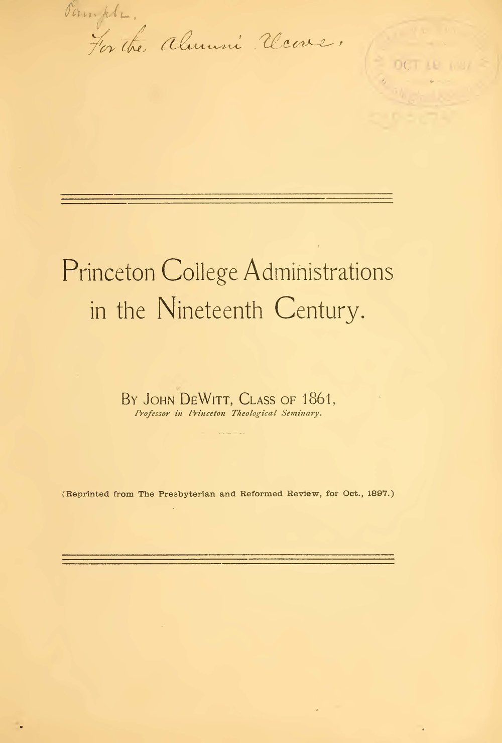 DeWitt, John, Princeton College Administrations in the Nineteenth Century Title Page.jpg