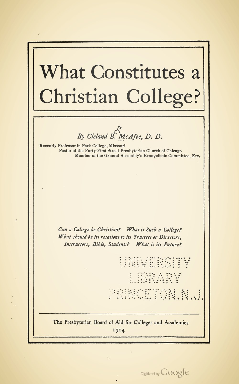 McAfee, Cleland Boyd, What Constitutes a Christian College Title Page.jpg