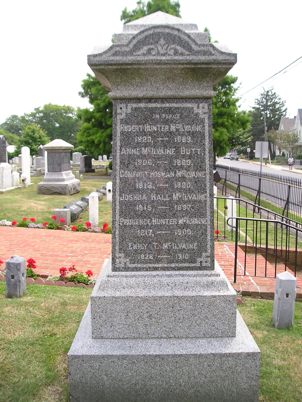 Joshua Hall McIlvaine is buried at Lewes Presbyterian Church Cemetery, Lewes, Delaware.