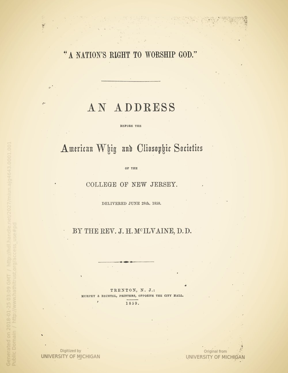 McIlvaine, Joshua Hall, A Nation's Right to Worship God Title Page.jpg