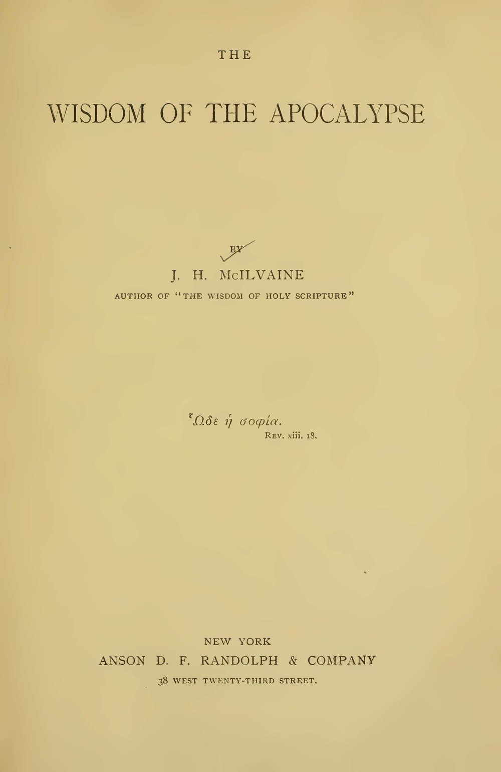McIlvaine, Joshua Hall, The Wisdom of the Apocalypse Title Page.jpg