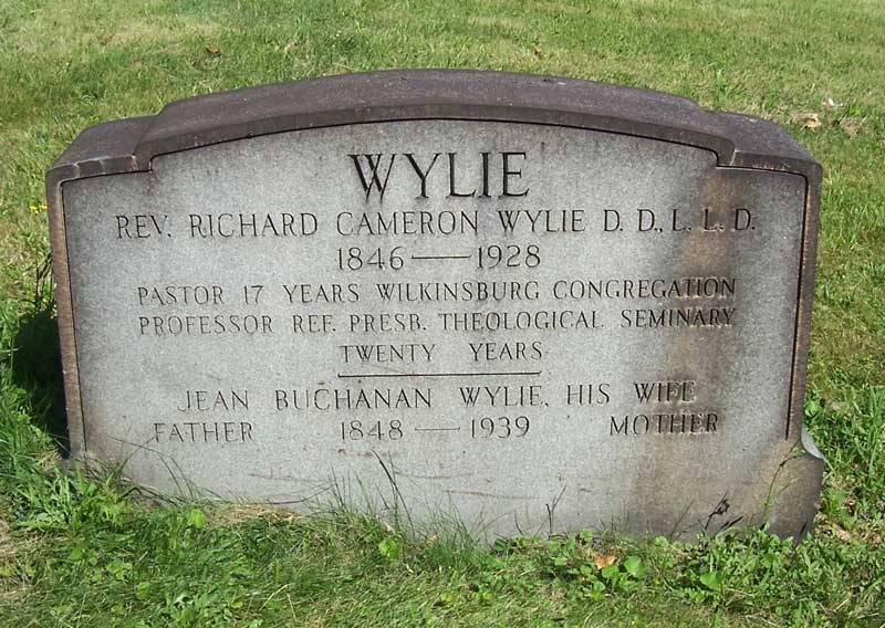 Richard Cameron Wylie is buried at Woodlawn Cemetery, Wilkinsburg Borough, Pennsylvania.