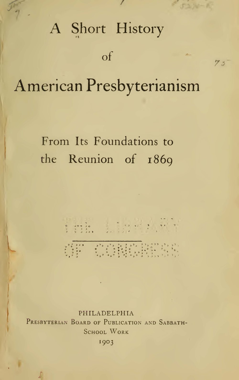 Hopkins, II, Samuel Miles, A Short History of American Presbyterianism Title Page.jpg