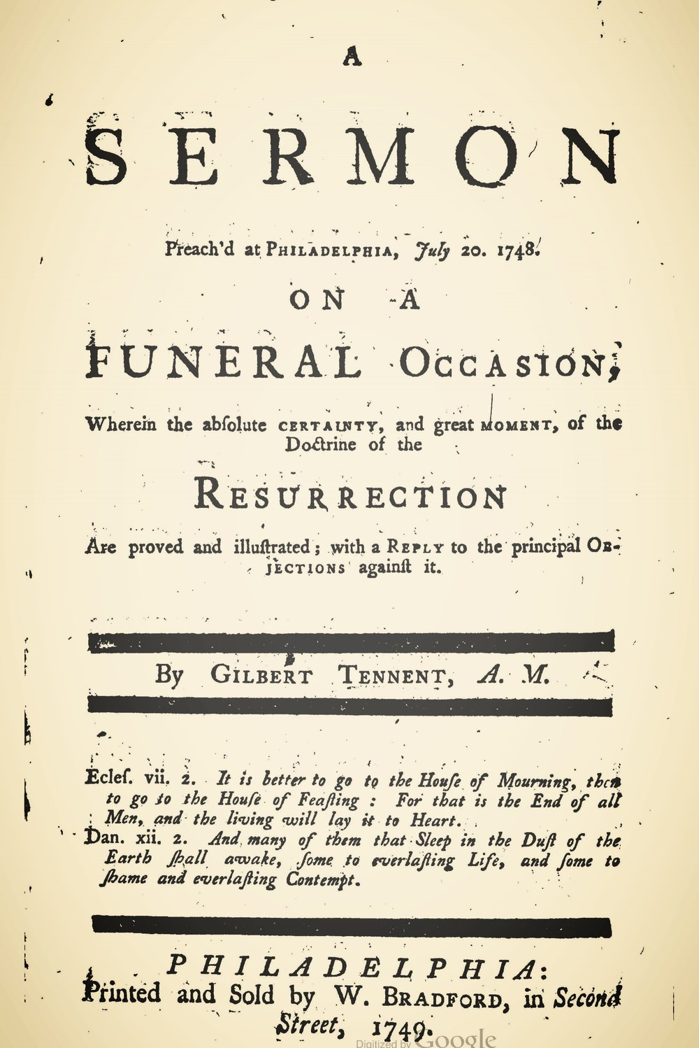 Tennent, Gilbert, A Funeral Sermon...Doctrine of the Resurrection Title Page.jpg