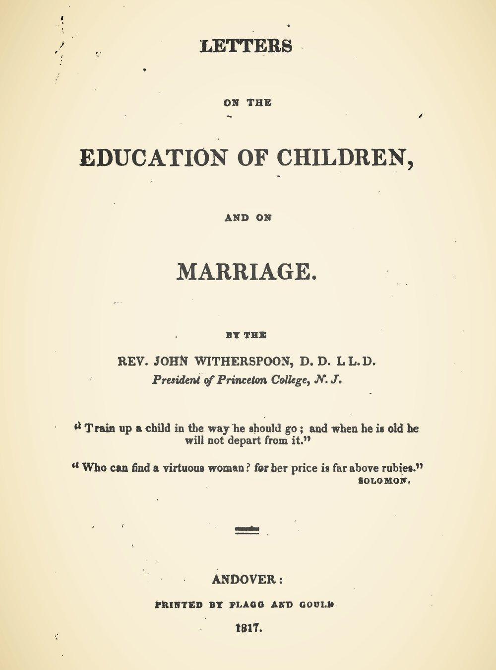WItherspoon, John, Letters on the Education of Children, and on Marriage Title Page.jpg