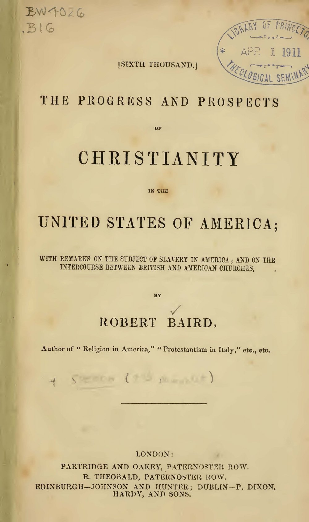 Baird, Robert, The Progress and Prospects of Christianity in the United States of America Title Page.jpg
