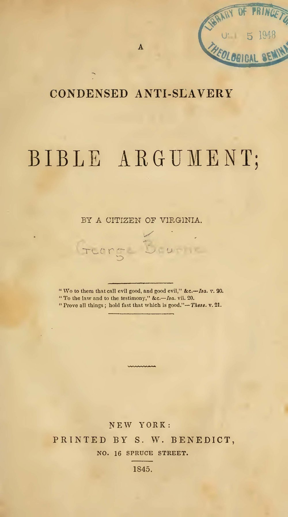 Bourne, George, A Condensed Anti-Slavery Bible Argument Title Page.jpg
