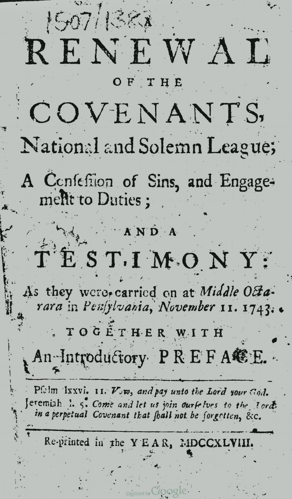 Craighead, Alexander, Renewal of the Covenants Title Page.jpg