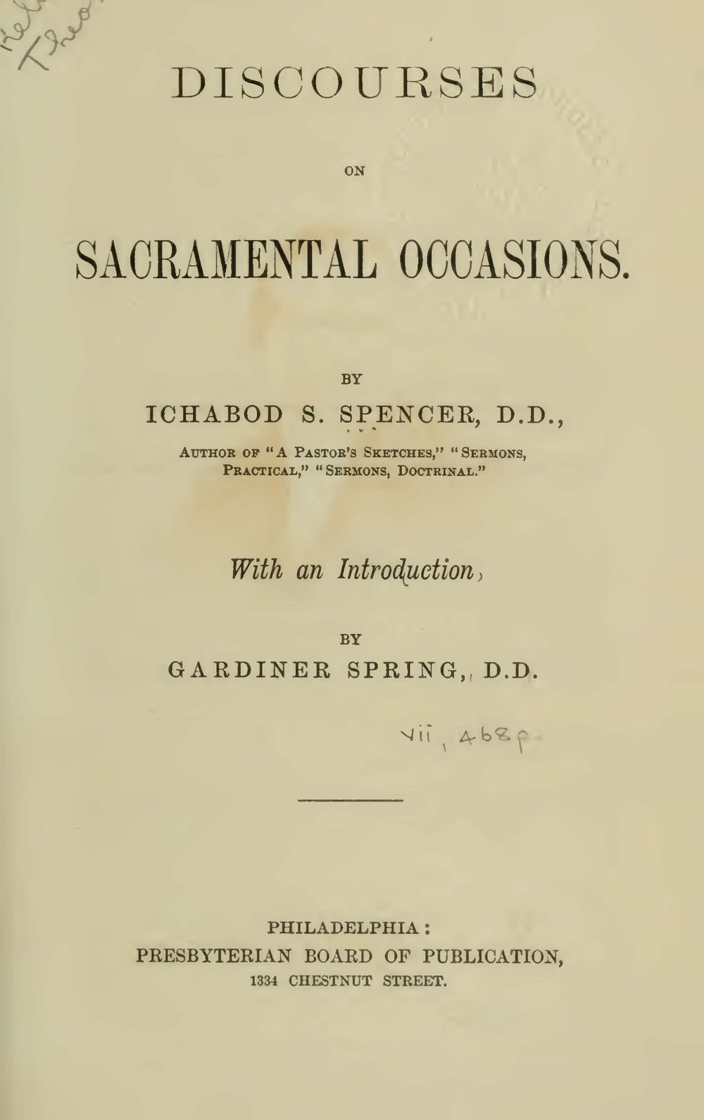 Spencer, Ichabod Smith, Discourses on Sacramental Occasions Title Page.jpg