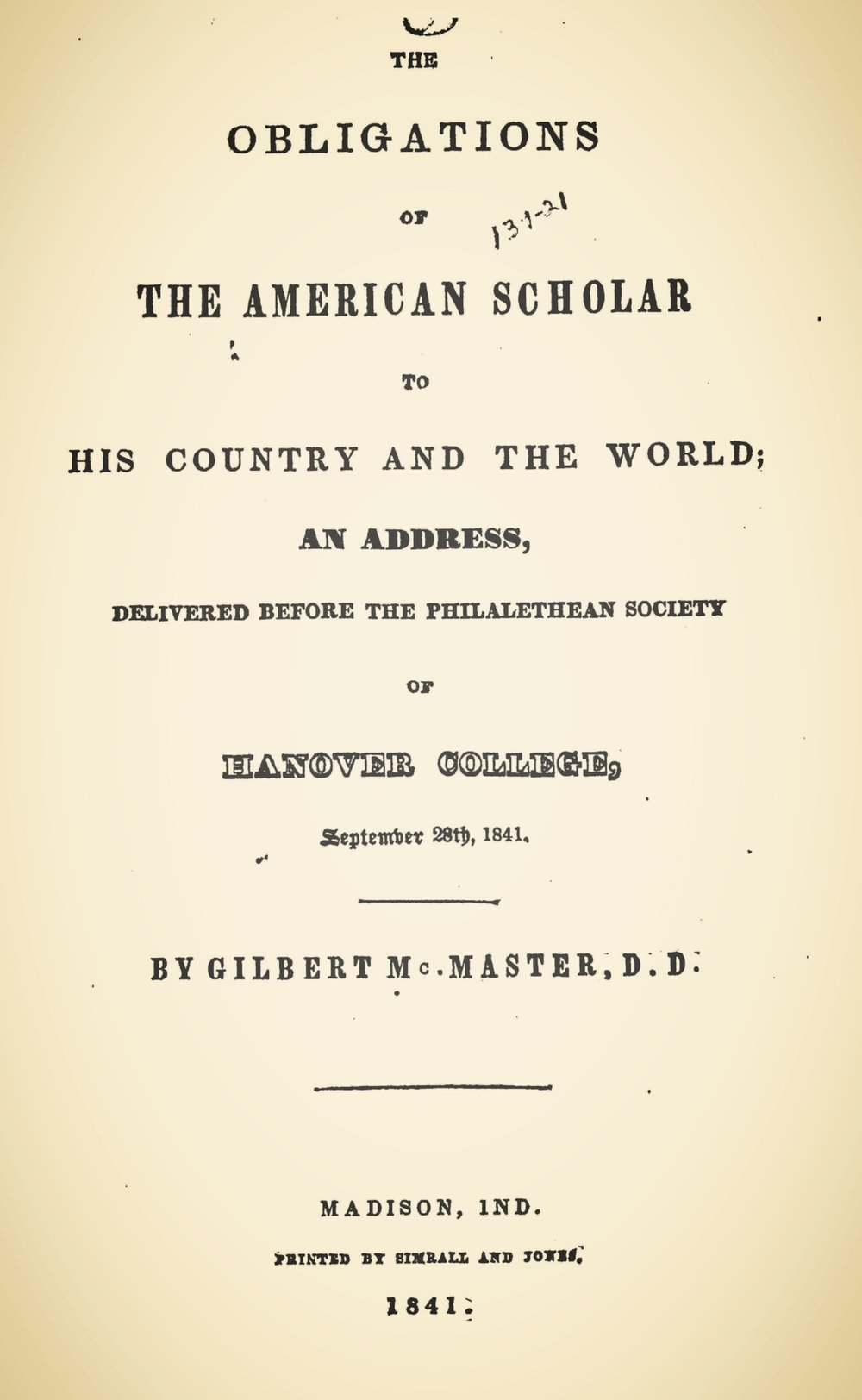 McMaster, Gilbert, The Obligations of the American Scholar to His Country and the World.jpg