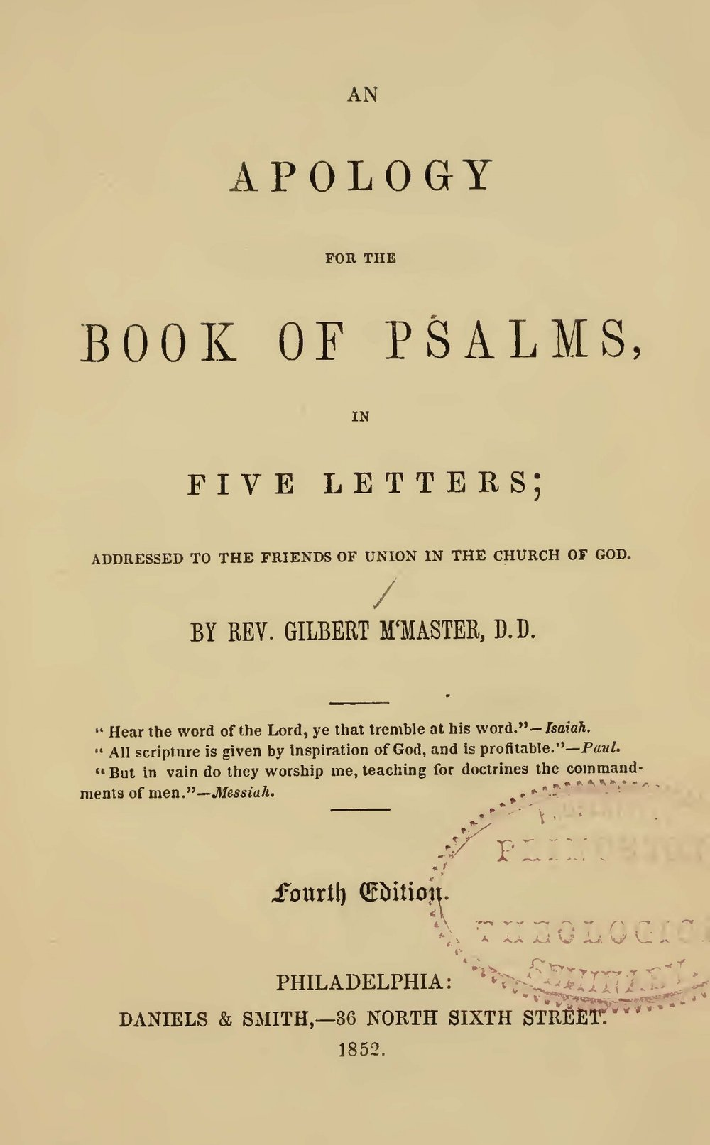 McMaster, Gilbert, An Apology for the Book of Psalms Title Page.jpg