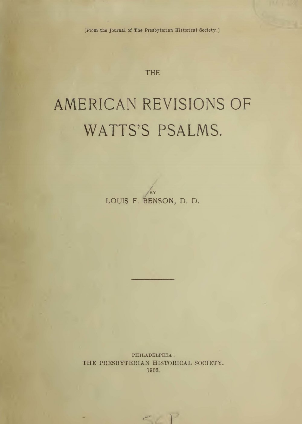 Benson, Louis FitzGerald, The American Revisions of Watts's Psalms Title Page.jpg