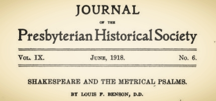 Benson, Louis FitzGerald, Shakespeare and the Metrical Psalms Title Page.jpg