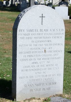 Samuel Blair, Jr. was buried at Ivy Hill Cemetery in Philadelphia, Pennsylvania.