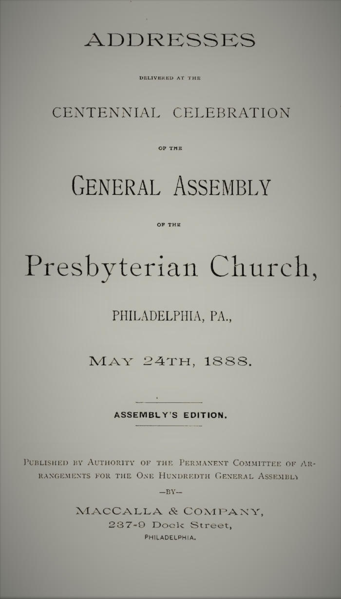 1. Historical Address, by Theodore Cuyler 2. The Work of Presbyterianism for the Future, by Thomas Dwight Witherspoon 3. Calvinism and Religious Liberty, by William C. P. Breckinridge 4. Presbyterianism and Biblical Scholarship, by Howard Crosby 5. The Adaptation of Presbyterianism to the Masses, by John Randolph Tucker 6. Presbyterianism and Education, by Simon J. McPherson 7. Calvinism and Human Progress, by James S. Cothran 8. Presbyterianism and Republican Government, by Samuel J. R. McMillan 9. City Evangelization - Its Necessity, by John Hall 10. City Evangelization - Its Methods, by Moses Drury Hoge 11. Preaching to the Masses, by Samuel J. Niccolls 12. Lay Effort Among the Masses, by Bennett H. Young 13. Home Missions, by George P. Hays 14. Foreign Missions, by Matthew Hale Houston 15. Historic Presbyterian Characters, by Charles L. Thompson 16. Closing Address, by Jerry Witherspoon 17. Home Missions, by Walter W. Moore 18. Foreign Missions, by Charles S. Pomeroy 19. The Children of the Covenant, by Givens B. Strickler 20. Memories and Duties, by William P. Breed