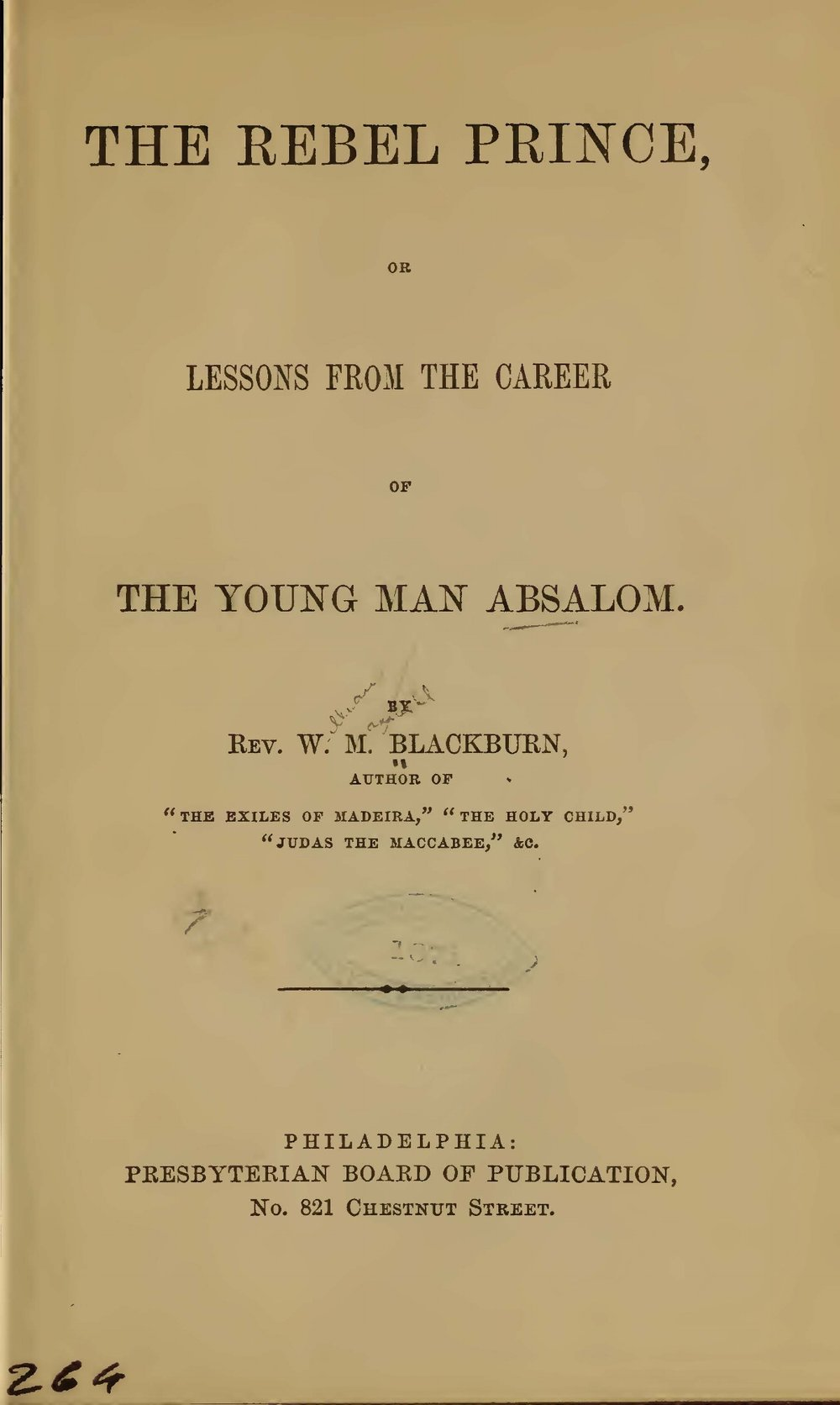 Blackburn, William Maxwell, The Rebel Prince Title Page.jpg