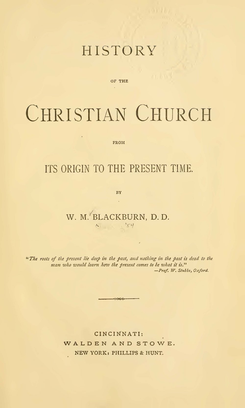 Blackburn, William Maxwell, History of the Christian Church Title Page.jpg