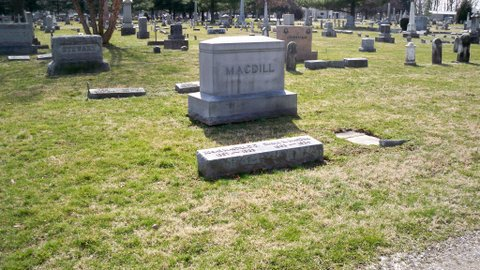 David MacDill is buried at Woodland Cemetery, Xenia, Ohio.