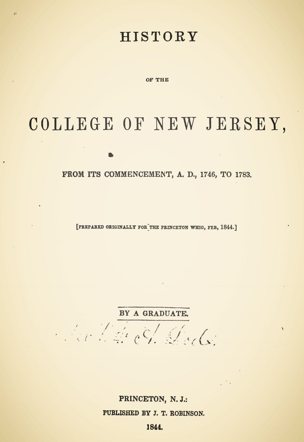 Dod, William Armstrong, History of the College of New Jersey Title Page.jpg