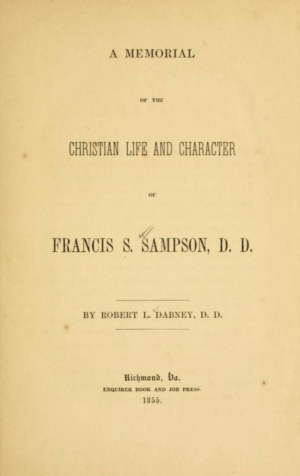 Dabney, Memoirs of Francis Sampson.jpg