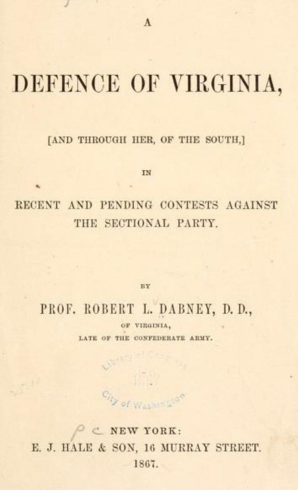 Dabney, Defense of Virginia.jpg
