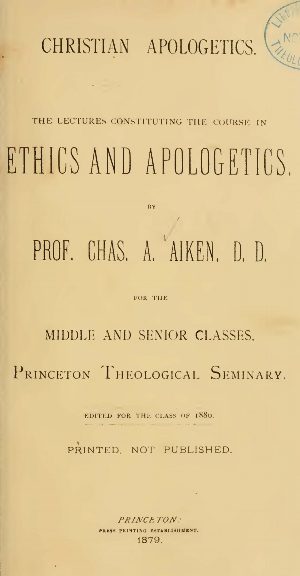Aiken, Charles Augustus, Christian Apologetics Title Page.jpg