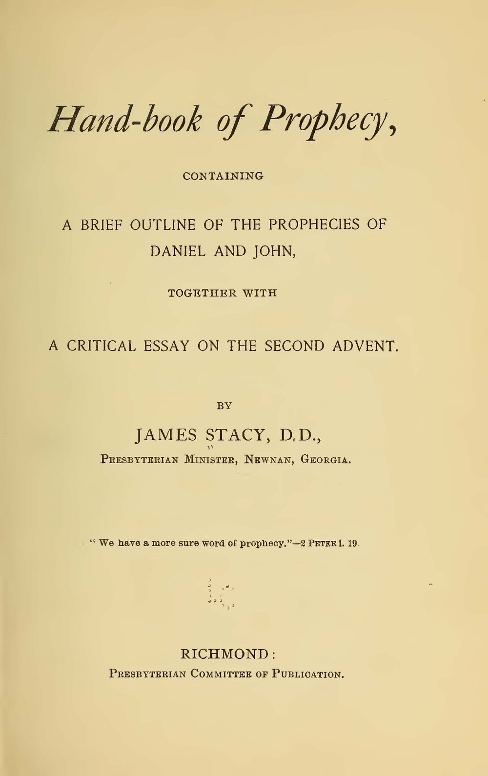 Stacy, James, Hand-Book of Prophecy Title Page.jpg
