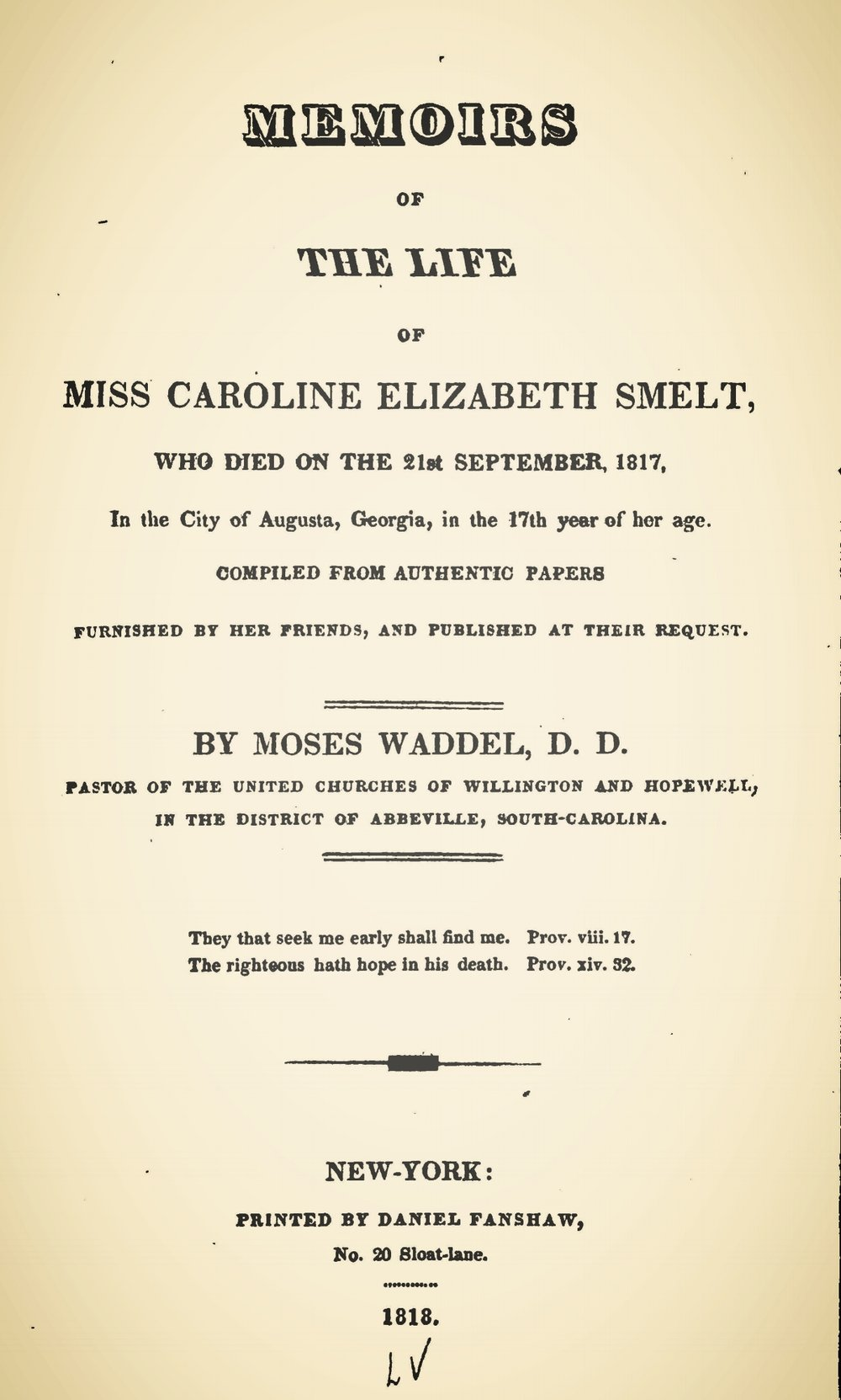 Waddel, Moses, Memoirs of the Life of Miss Caroline Elizabeth Smelt Title Page.jpg