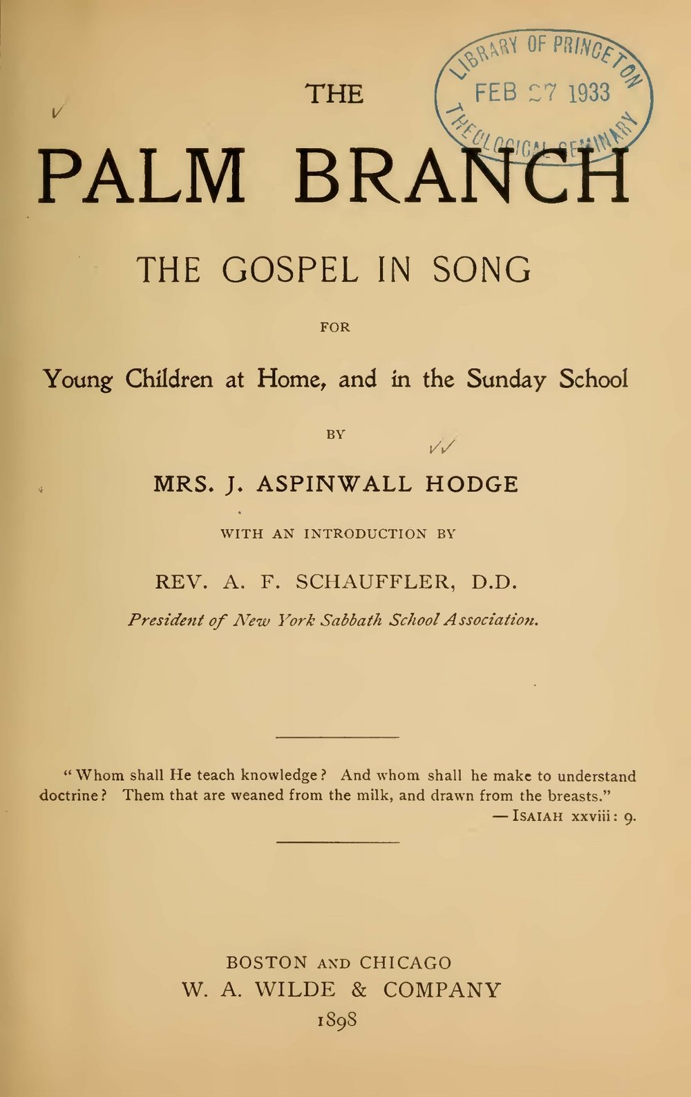 Hodge, Charlotte, The Palm Branch The Gospel in Song for Young Children at Home Title Page.jpg